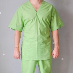 Блуза хирургическая мужская из ситца зеленого цвета, ТУ 858-5785-2005. Общий вид