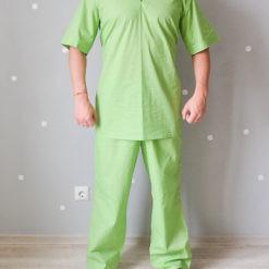 Брюки хирургические мужские из ситца зеленого цвета ТУ 858-5786-2005 изв.1. Вид с блузой