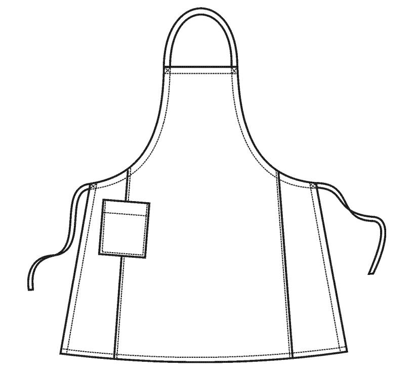 Фартук (Комплект санитарно-хозяйственной одежды), ТУ 858-5783-2005 изв. 1. Технический рисунок.