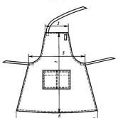 Фартук специальный из прорезиненной ткани тип Б ГОСТ 12.4.029-76, изм.1,2,3. Технический рисунок.